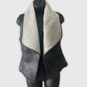 RW&Co Faux Leather and wool blend vest XS